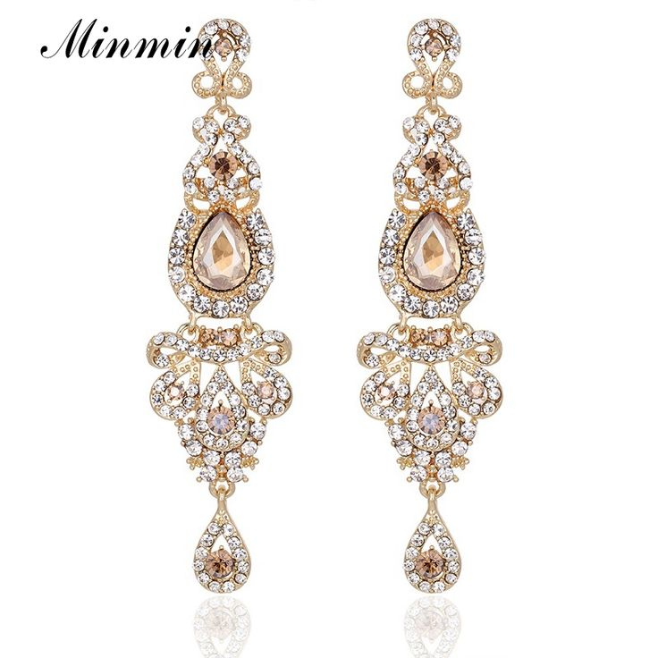 Minmin Champagne Crystal Long Dangle Earrings Luxury Bridal Wedding Big Chandelier Pendant Earrings Jewelry for Women EH162