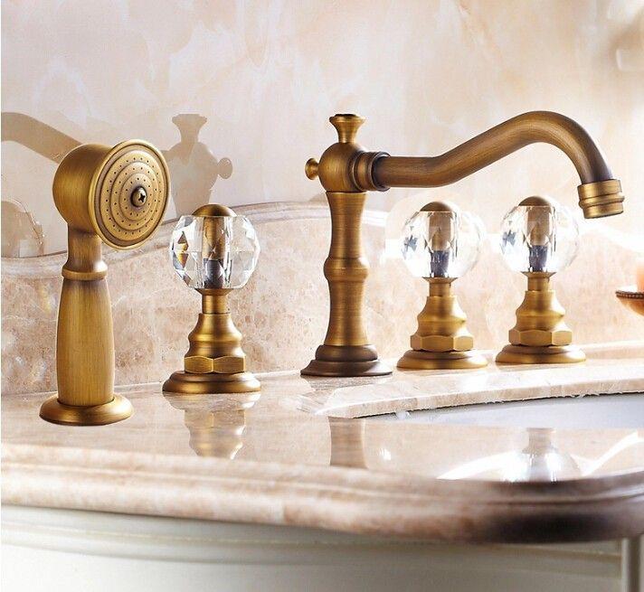 Alibaba グループ | AliExpress.comの バス & シャワー水栓 からの 新しい到着の高品質総真鍮アンティーククラシック5個デッキ- マウントされている浴室のバスタブの蛇口セット浴槽フィラー蛇口のミキサータップ1.材料:蛇口の耐久性に依存し、 その材質。 低品質の蛇口真鍮が簡単に錆に、 水の損傷や悪化。 私たちの 中の 新しい到着高品質総真鍮アンティーク クラシック 5 ピース デッキ に取り付け られ た浴室バス タブ蛇口セット浴槽フィラー蛇口ミキサー タップ