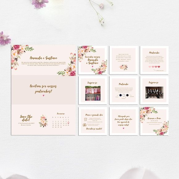 manual + convite para padrinhos floral rosa - arte digital