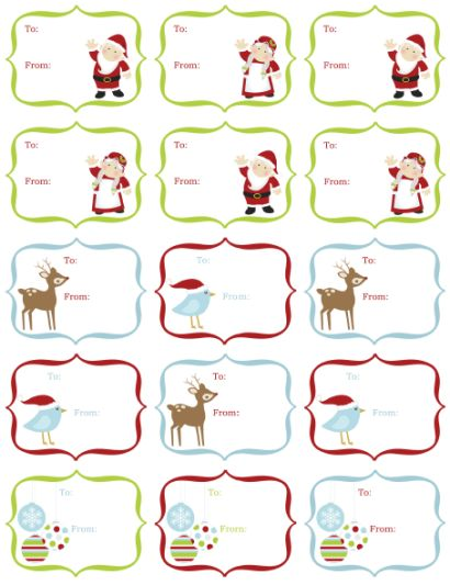 This page includes gift tags, kitchen stickers, address labels, and more free printables for personal use.