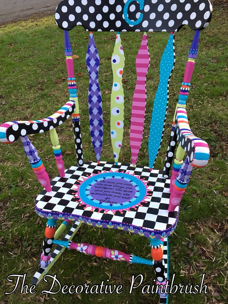 Whimsical reading chair for an elementary classroom. #teachergifts #furnitureart #furniture #decor The Decorative Paintbrush designs by Mary Mollica