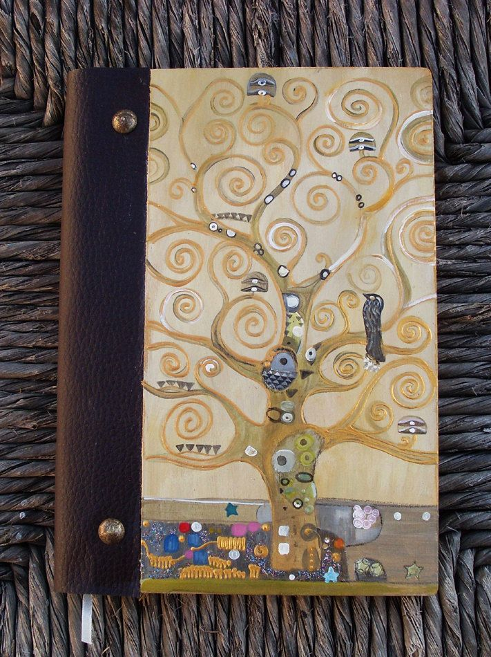 Notebook, Wooden Notebook, Custom Notebook, Journal Notebook, Writing Journal, Sketchbook, Custom Sketchbook, Art Nouveau, The tree of life by allabouthandicraft on Etsy