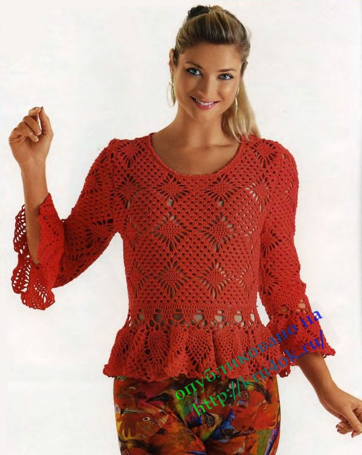 Red blouse with diagrams, click to enlarge diagram. Use web translator to translate instructions.