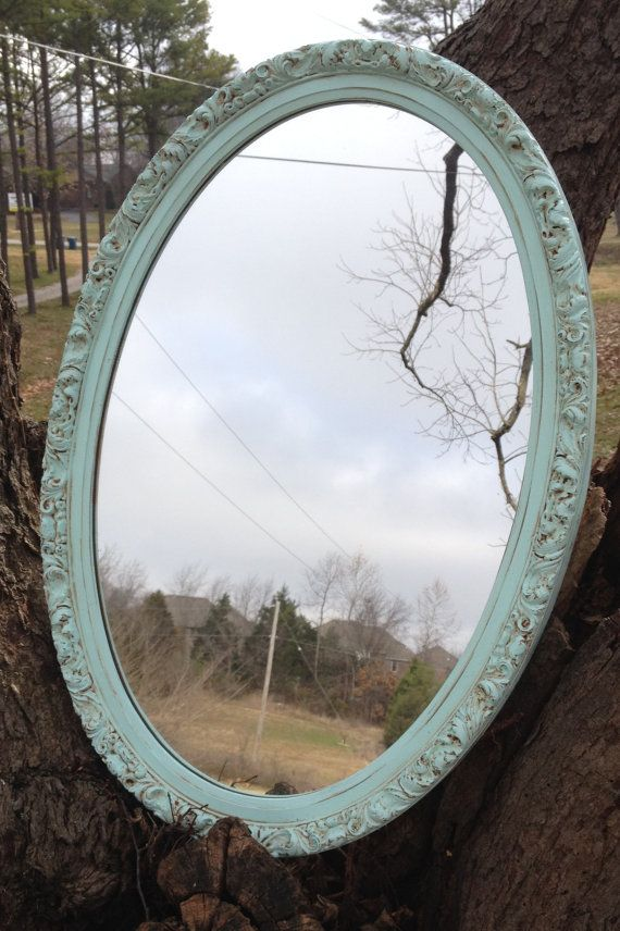 Vintage Icy Mint Green Ornate Oval Mirror