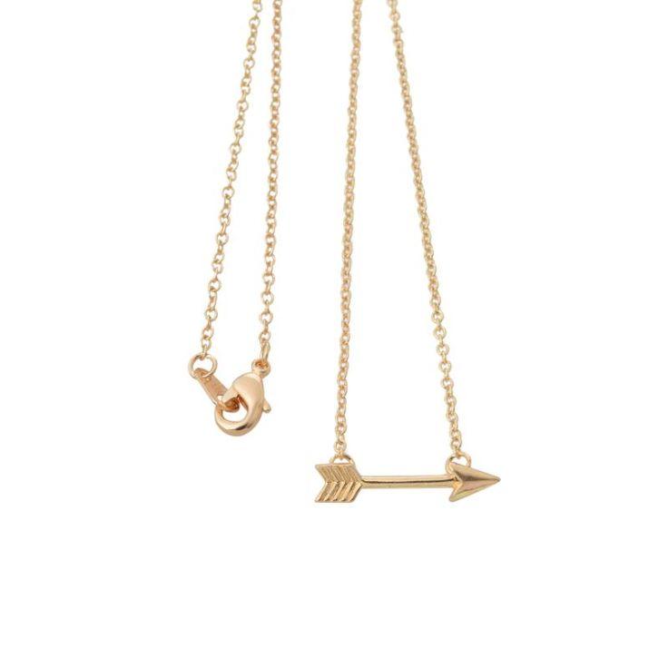 Fashion Gold Plated Horizon Arrow Pendant Necklaces for Women Tiny Necklace Men Wholesale