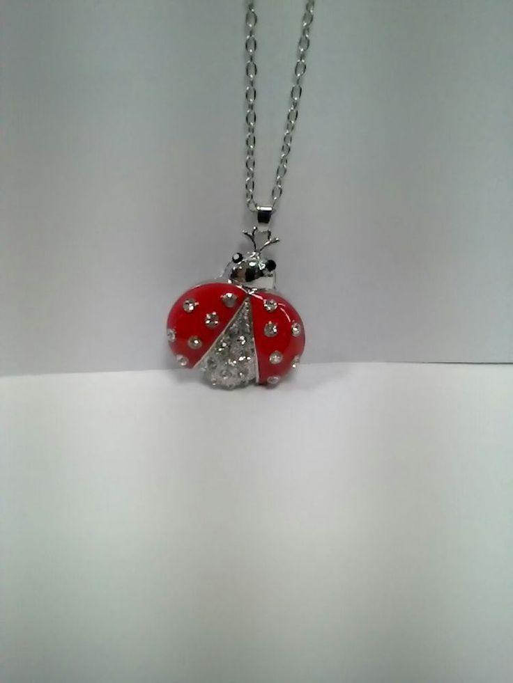 Collana necklace  con coccinella ladybug smaltata e strass portafortuna