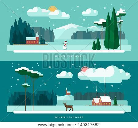 Winter landscape vector illustrations set in flat design style. Winter village and nature - houses, church, forest, snowman, deer, christmas tree, snowy weather.