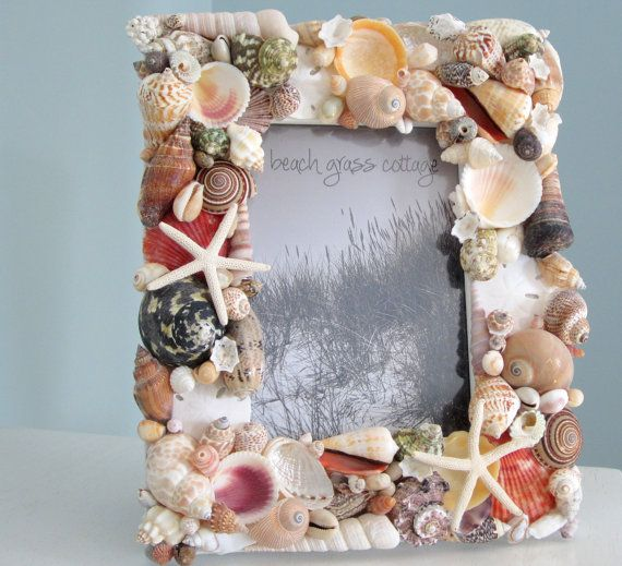 Seashell Frame Beach Decor Nautical Decor by beachgrasscottage