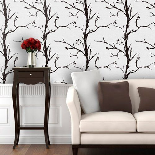 Find it at the Foundary - Ash White Trees Wallpaper