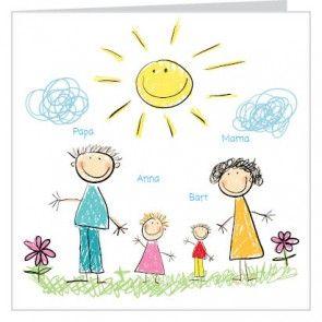 #Geboortekaartje voor een jongen of #meisje, #broertje of #zusje met tekeningen van een familie zonnetje wolken en bloemen. Je kunt het ontwerp geheel naar wens aanpassen door plaatjes van kleur te veranderen of zelfs te vervangen door bijpassende figuurtjes uit onze beeldenmap. Kortom, je maakt het jouw unieke kaartje op www.babyboefjes.nl. Direct het kaartje bewerken: http://www.babyboefjes.nl/geboortekaartje-01-1-0291.html