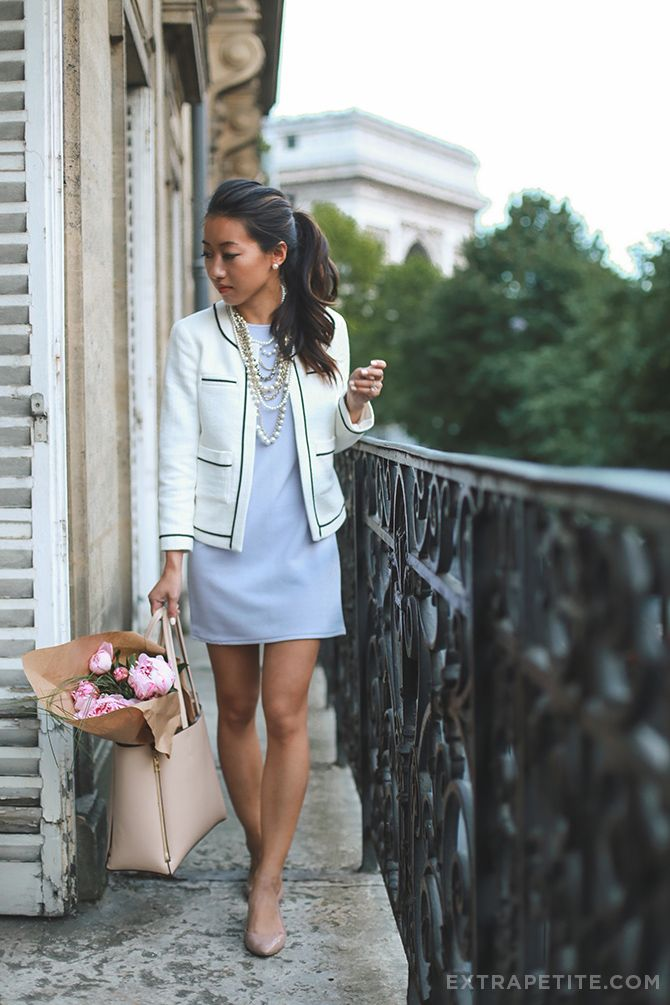 ExtraPetite.com - Remixed: ASOS petites shift dress   classic Chanel style jacket
