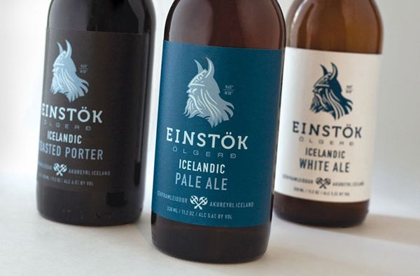 "Einstök is an Icelandic beer which has White Ale, Pale Ale and Toasted Porter. Einstök translated means ""unique"" which pretty much summaries the country where once Vikings roamed around. US design agency Auston Design Group designed Einstök branding and label design."