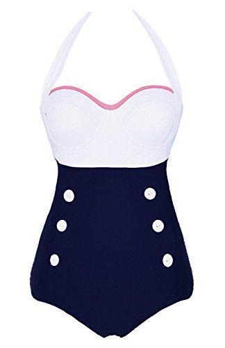 Cocoship White Retro Navy Two Tone Button Vintage Sailor One Piece Pin Up Swimwear Halter Swimsuit L(FBA) COCOSHIP http://www.amazon.com/dp/B00ZFDHF8M/ref=cm_sw_r_pi_dp_13R.vb0YJZ7DJ