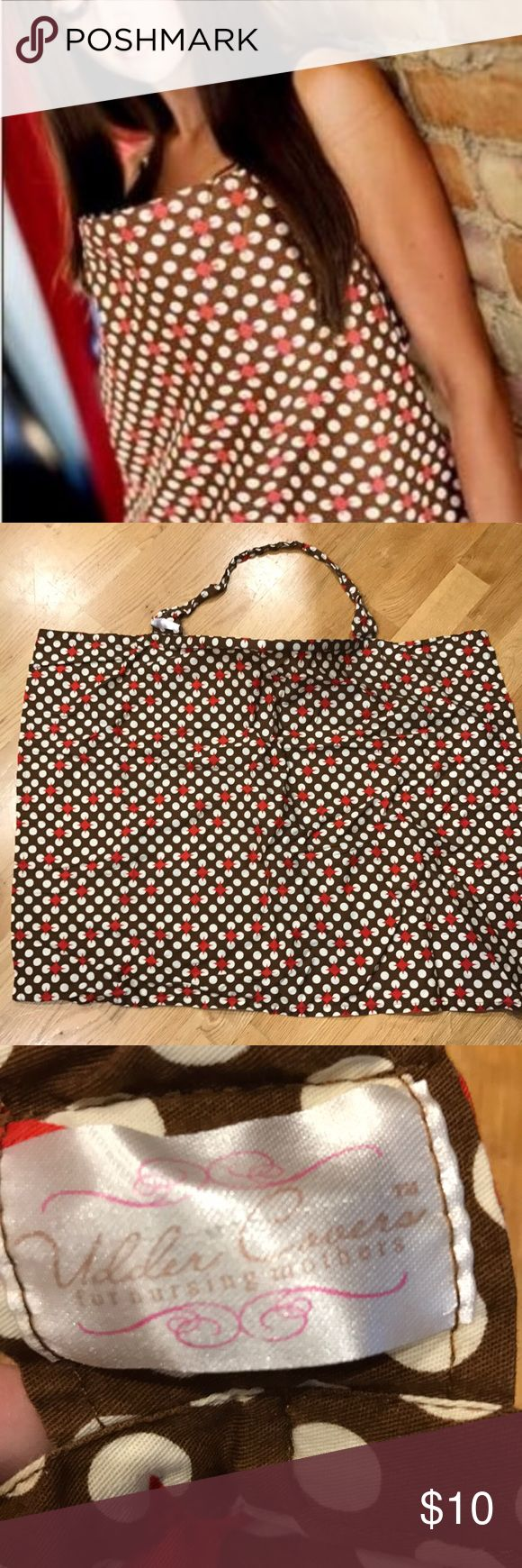 Udder Cover Nursing Cover up, on-the-go Nursing Udder Covers for Breast- feeding mothers on the go. This is a brown and white polka-for pattern w Red diamonds. Incredibly useful piece for nursing in public. Used but in excellent condition. Udder Covers Other