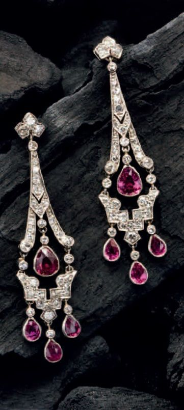 A pair of Art Deco pear-shaped ruby and diamond chandelier ear-pendants. Source: Humphrey Butler, 2015-16 catalogue.