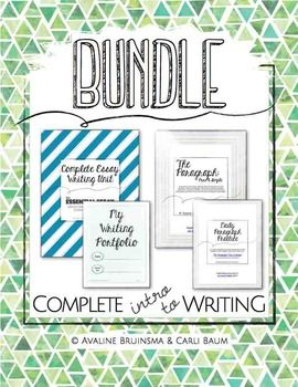 This 80+ pgs COMPLETE INTRODUCTION TO WRITING bundle includes our largest and most comprehensive essay writing unit, our paragraph writing unit, our customizable paragraph practice unit and our writing portfolio labels. Units offer detailed instruction and printable activities for writing the introductory literary essay, expository essay and position paper as well as the perfect paragraph.