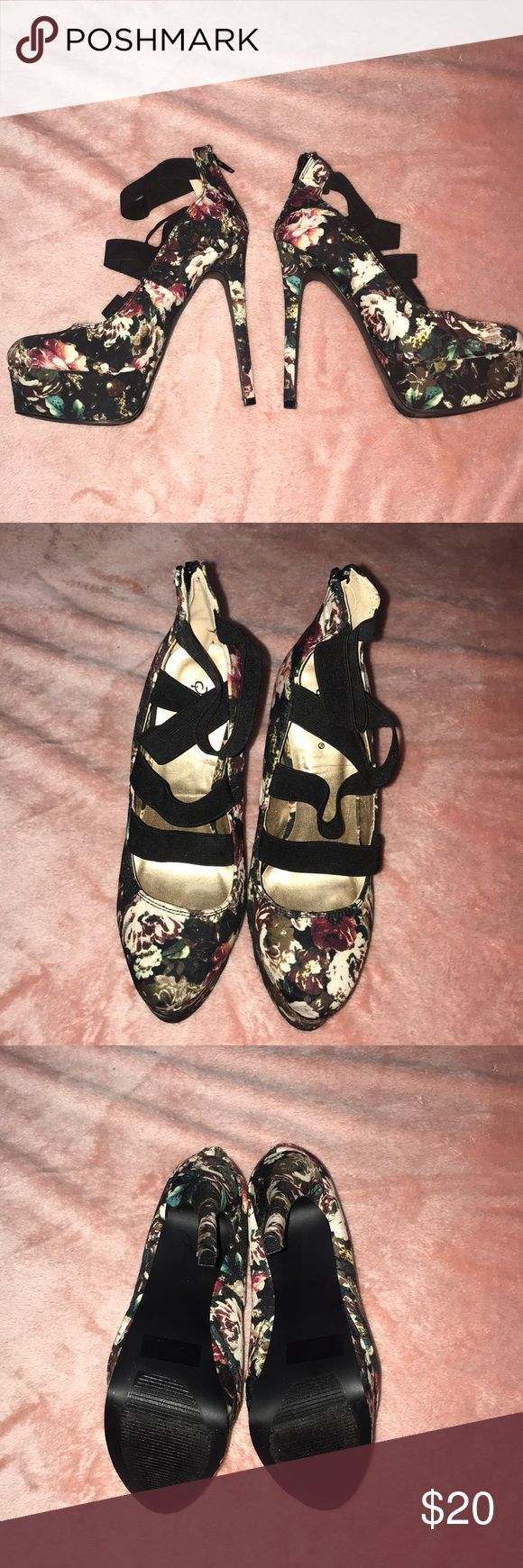 "Floral print heels! 🎉 like new floral print high heels!🎉 ♥️ barely worn ♥️like new condition  ♥️5"" heel ♥️size 7.5 💋make an offer !! 💋 Charlotte Russe Shoes Heels"