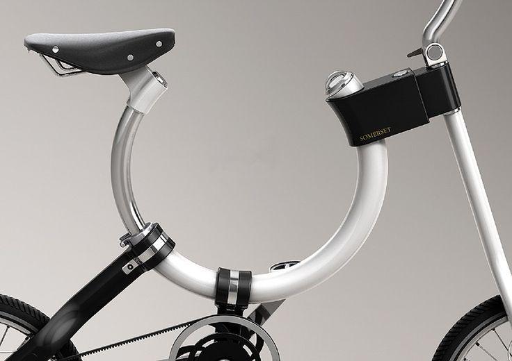 somerset bike's oval-shaped frame slides components for convenient folding