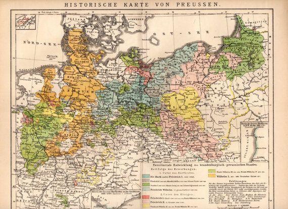 1895 Preußen historische Karte Historische Karte von Preußen, Hessen, Hannover, Berlin, Pommern, Preussen, Deutschland, Polen, Neumark