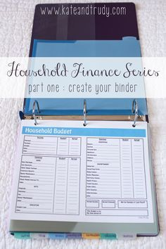 Household Finance Series on Kate & Trudy | www.kateandtrudy.com - bill binder, home finances, organization!
