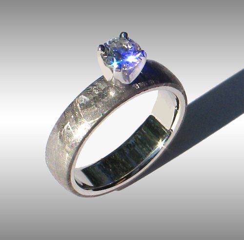 Meteorite Platinum and Diamond Engagement Ring