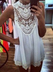$9.00 Alluring Hollow Out Design Sleeveless Stand-Up Collar Lace Splicing Dress For Women
