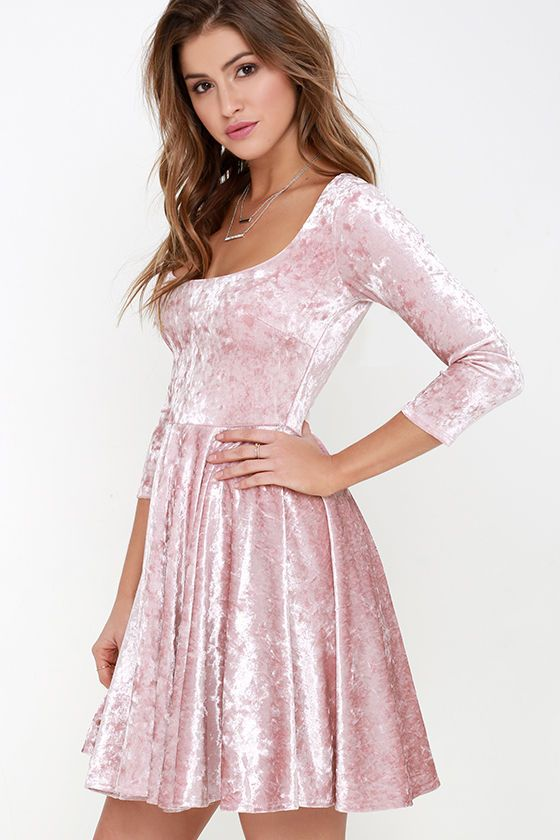 I Love You Amore Blush Pink Velvet Skater Dress