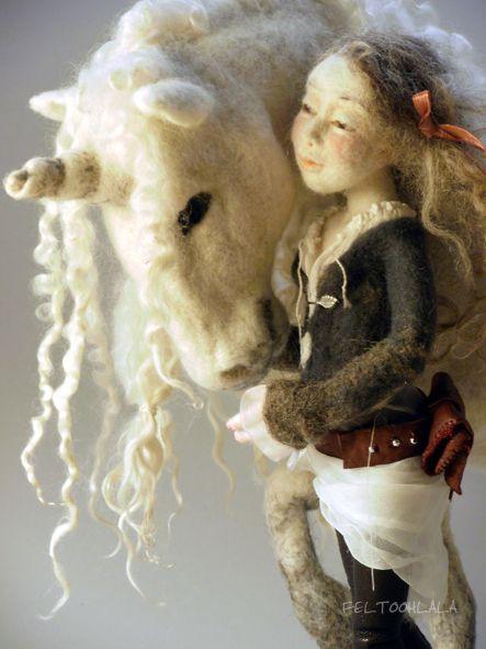needle felted doll and Unicorn by FELTOOHLALA