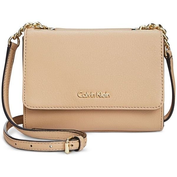 Calvin Klein Pebble Leather Mini Crossbody ($178) ❤ liked on Polyvore featuring bags, handbags, shoulder bags, nude, chain crossbody, mini crossbody purse, crossbody shoulder bags, nude handbags and beige handbags