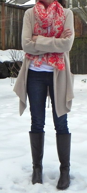Cardigan + scarf + tee = me. Plus I already have the skinny jeans and boots.