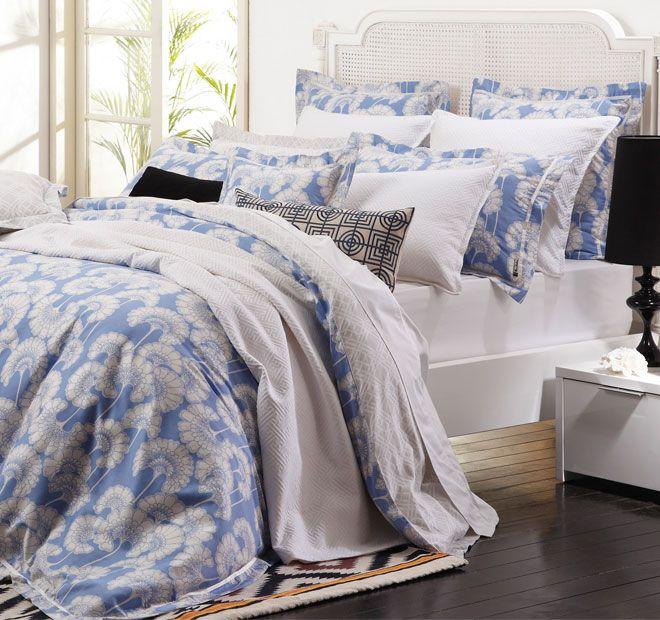 Florence Broadhurst Japanese Floral Quilt Cover Set Range Sky Blue   <3