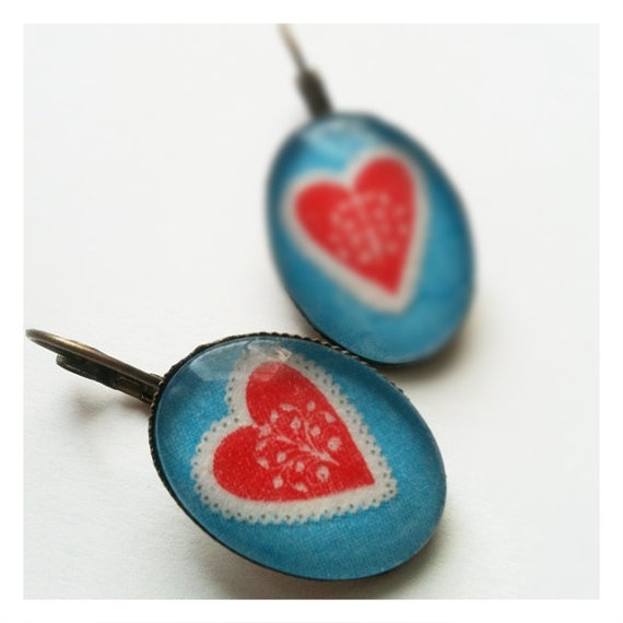 Earrings with Hearts Picture behind glass by mikakoska on Etsy, $10.00