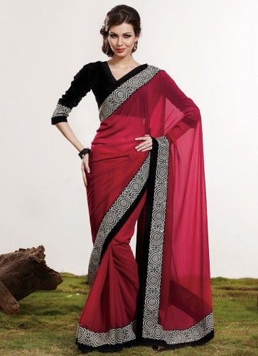 Saree Blouse - long sleeve in a strong contrasting colour