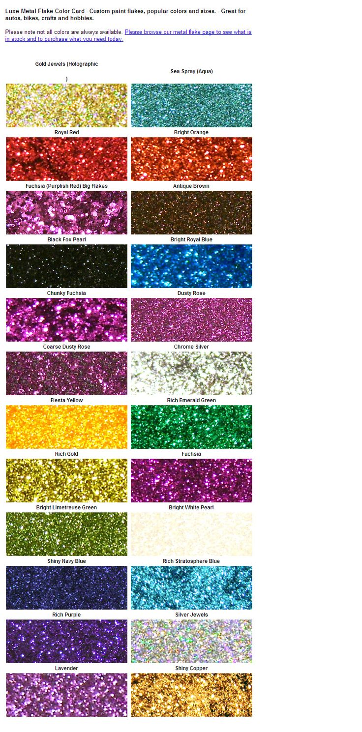 Metal flake color card.