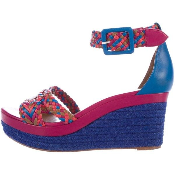 Pre-owned Herm?s Espadrille Wedge Sandals (5,750 EGP) ❤ liked on Polyvore featuring shoes, sandals, blue, multi coloured sandals, multi colored sandals, multi color wedge sandals, espadrille wedge sandals and blue wedge shoes