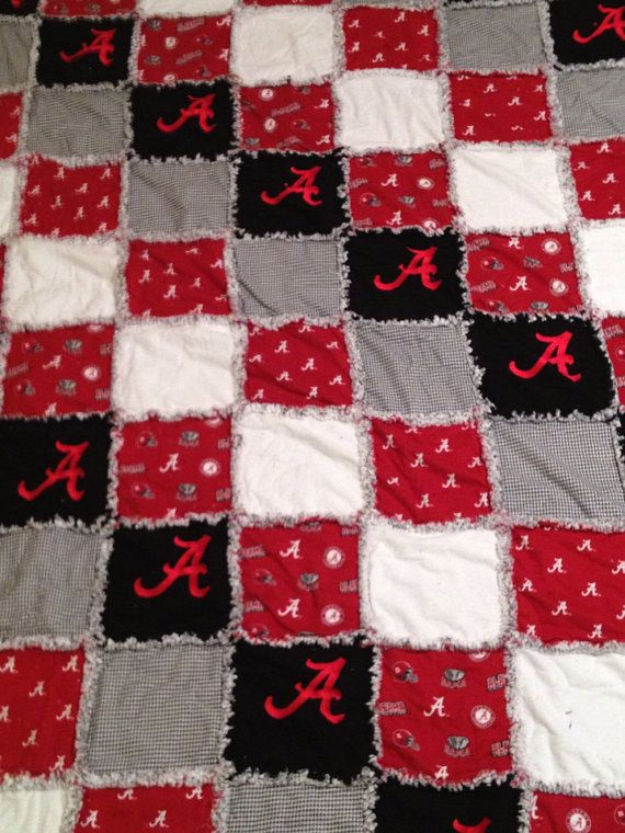 Alabama football embroidered flannel rag quilt ROLL by creesher