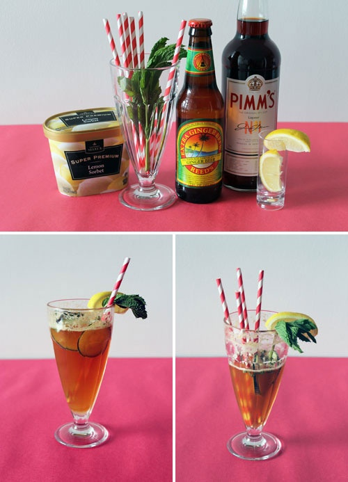 Pimm's Cup Lemon Sorbet Float. Yum!
