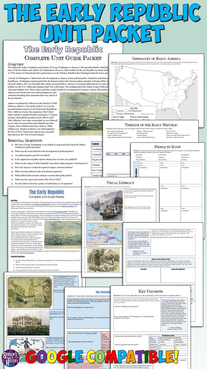 medium resolution of Early Republic Packet for US History   Teaching us history