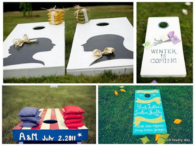Wedding Lawn GamesCocktails Hour, Ideas, Cornhole Games, Lawns Games, Lawn Games, Wedding Games, Cornhole Boards, Outdoor Weddings, Wedding Fun