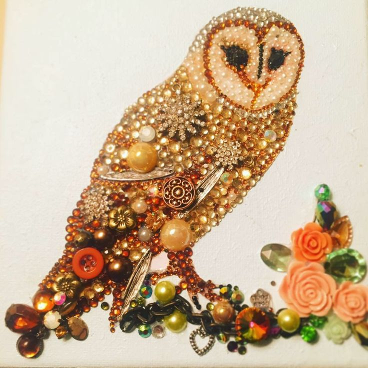 Owls rhinestone, buttons and recycled jewellery gift on canvas