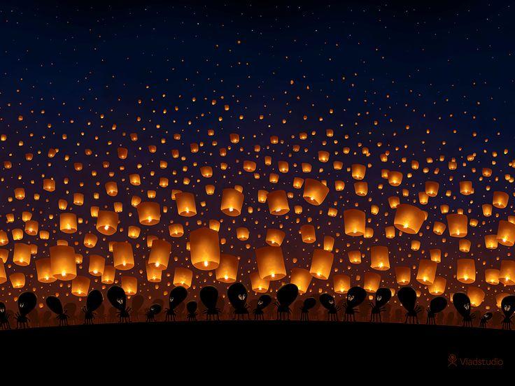 Sky Lanterns · Bureaublad achtergronden · Vladstudio