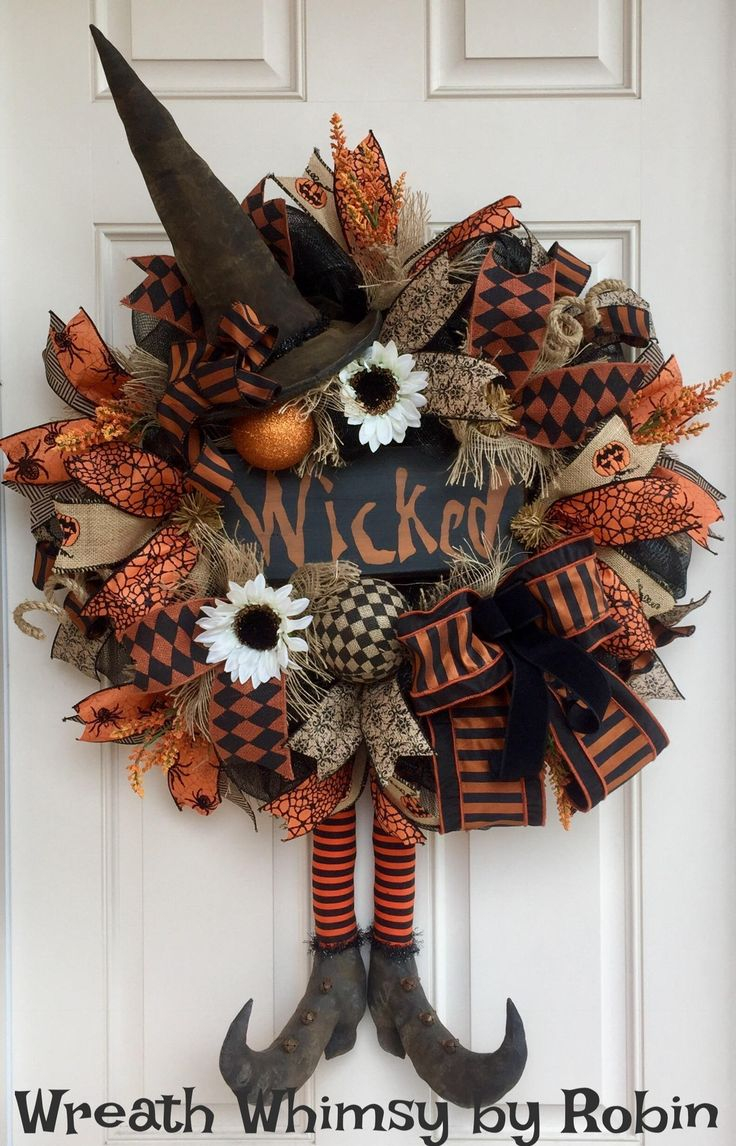 Halloween Burlap & Mesh Rustic Witch Wreath with Primitive Boots and Hat, Fall Wreath, Front Door Wreath, XL Halloween Wreath, Folk Art by WreathWhimsybyRobin on Etsy