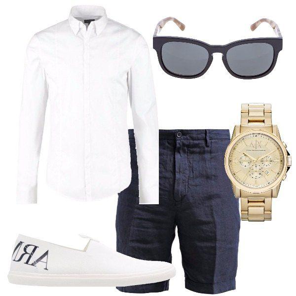 Outfit dedicato ad un uomo che ama le griffes e la qualità. Camicia bianca, Armani Jeans, shorts blu, in puro lino, sneakers senza lacci bianche Armani Jeans, occhiali da sole Burberry, orologio in acciaio inossidabile, dorato Armani Exchange.