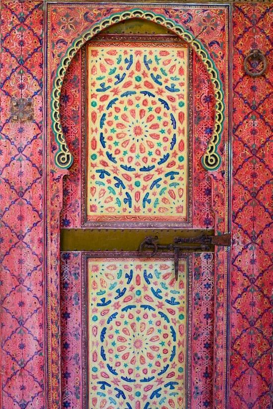 Found on media-cache-ec3.pinterest.com via Tumblr: Pattern, Mokri Palace, Color, Beautiful Doors, Pink, Morocco, Dar Mokri