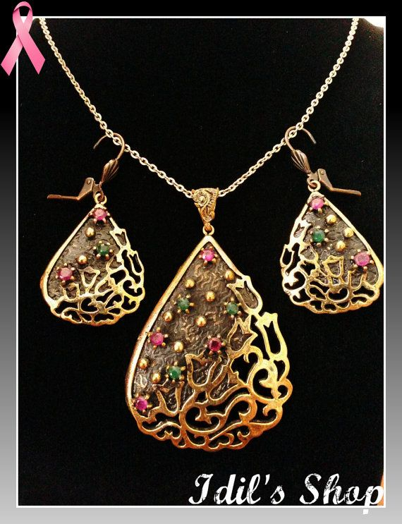 An absolutely breathtaking bronze set... The Ottoman design jewellery set is a piece of jewellery collection made from bronze and semi-precious stones. The bronze is oxidized to create an antique vintage effect. This set is inspired from Ottoman Empire era and made in Turkey, by skilled Turkish artisans shape bronze into filigreed designs  Length of the set is 49 cm (short) - 55 cm (long).
