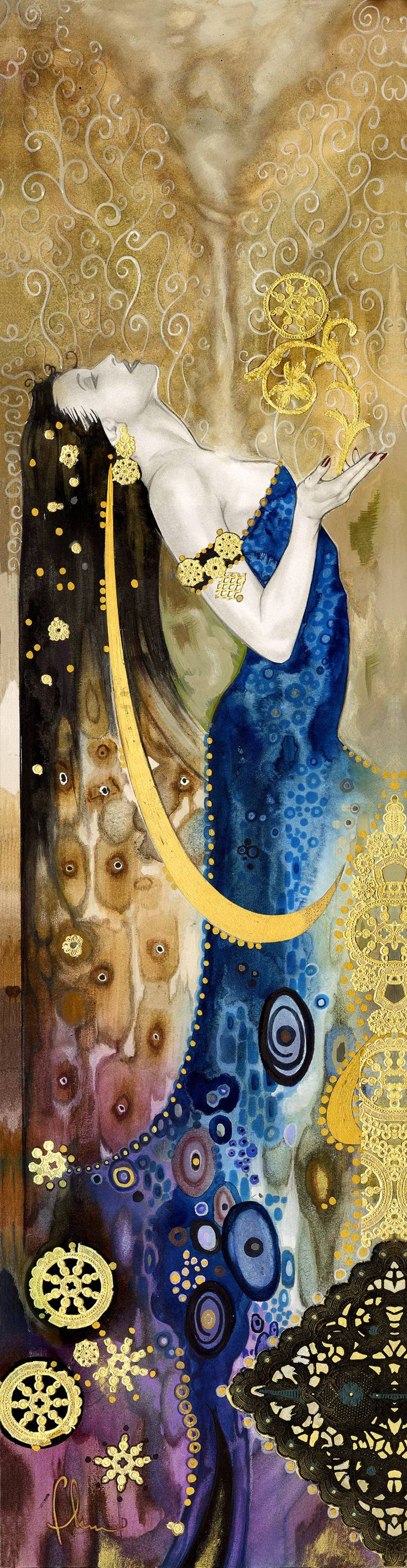 "Saatchi Art Artist Tom Fleming; Painting, ""Spirit & Life"" #art - Painting: Watercolor on Canvas. Size: 44 H x 11 W x 2 in Original is sold, but it is available as a beautiful canvas gallery wrap. Keywords: positive, spirit, klimt, figurative, Inpirational"