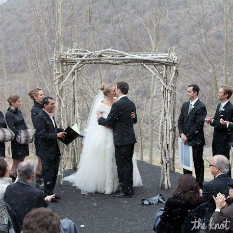 Outdoor Winter Wedding Ceremony