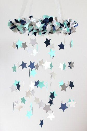 Navy Blue, Aqua, White & Gray Nursery Star Mobile