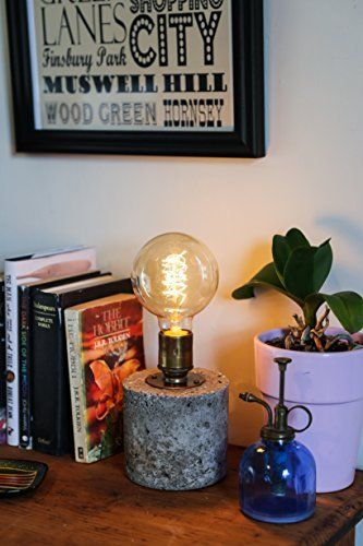Table Lamp Handmade from Hypertufa Concrete with Vintage Bulb