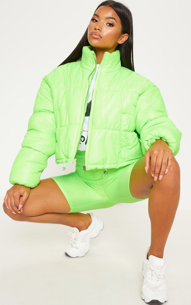 Lime Cropped Neon Puffer Jacket